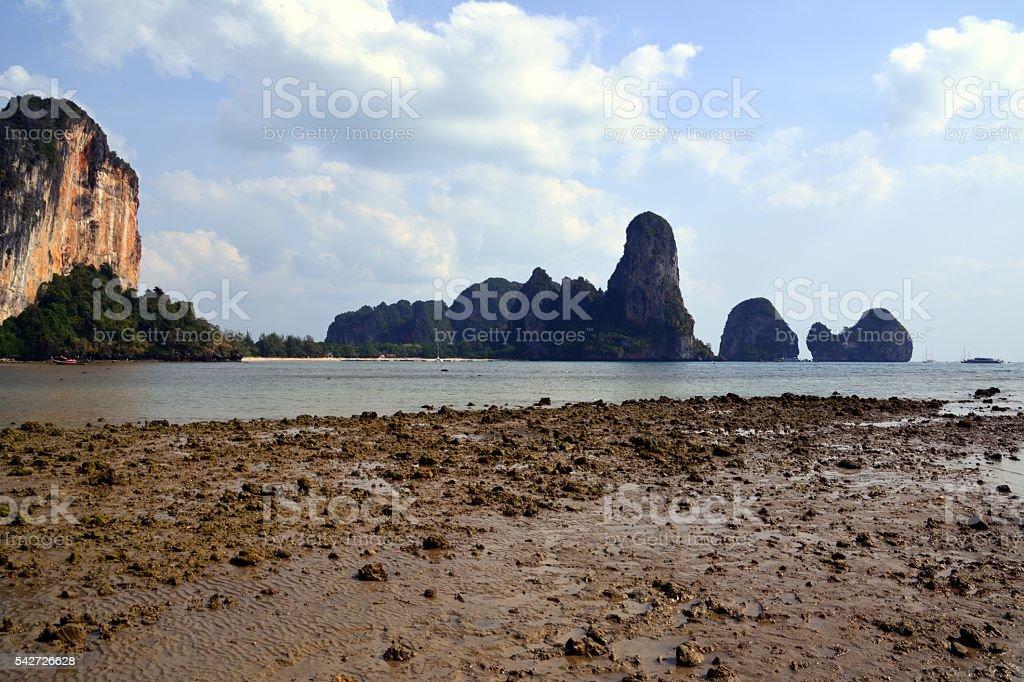 Ton Sai Beach at Railay peninsula, Krabi, Thailand stock photo