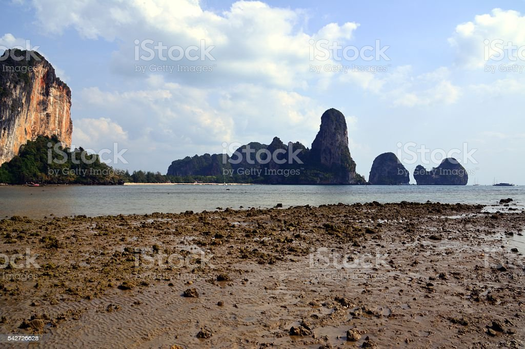Ton Sai Beach at Railay peninsula, Krabi, Thailand stock photo