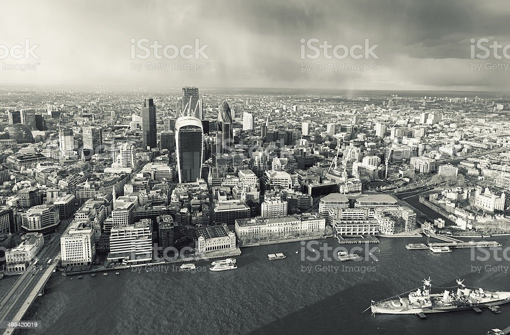 Toned aerial view of London's River Thames and financial center stock photo