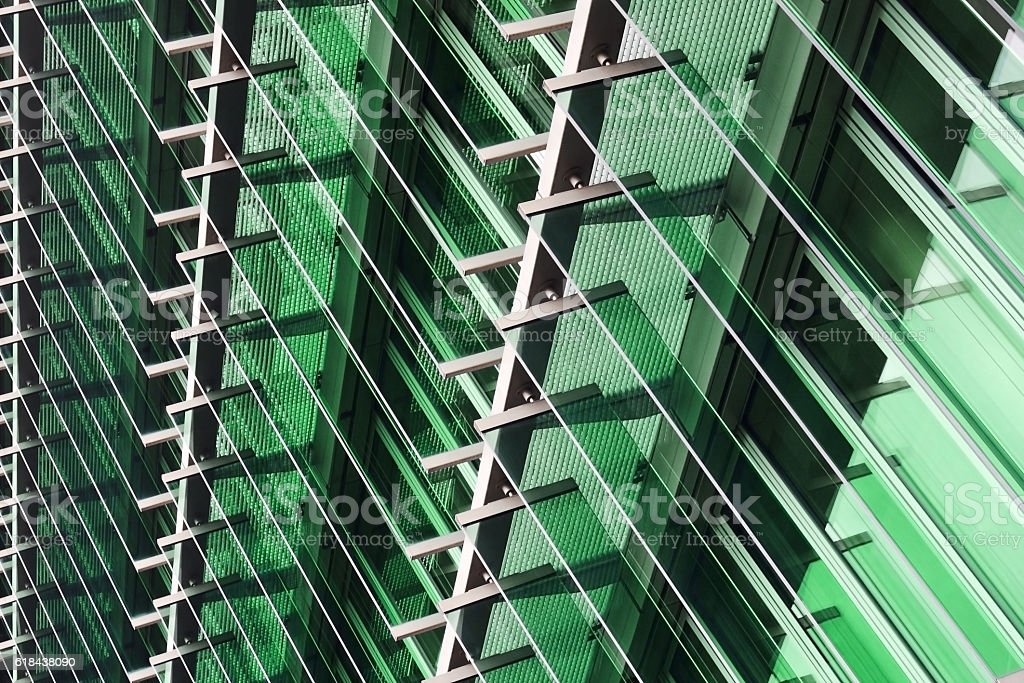 Toned close-up photo of modern building fragment. Eco-friendly architecture. stock photo