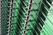 Toned close-up photo of modern building fragment. Eco-friendly architecture.