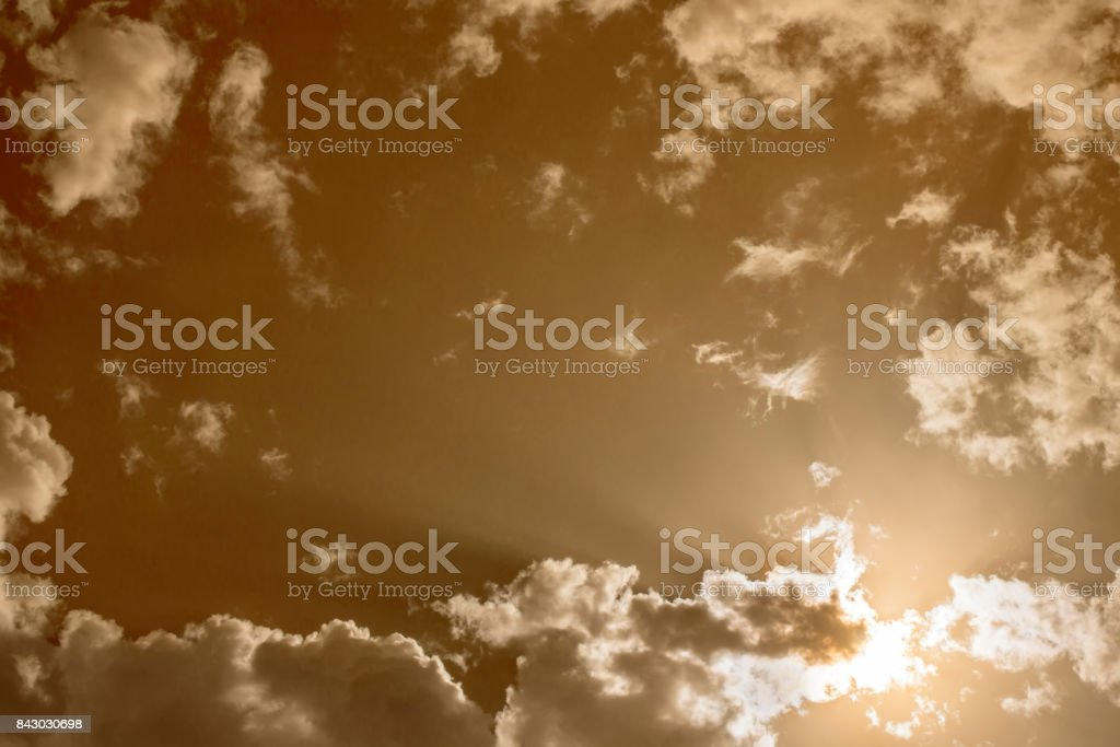 Toned cloudy sky with white gray clouds stock photo