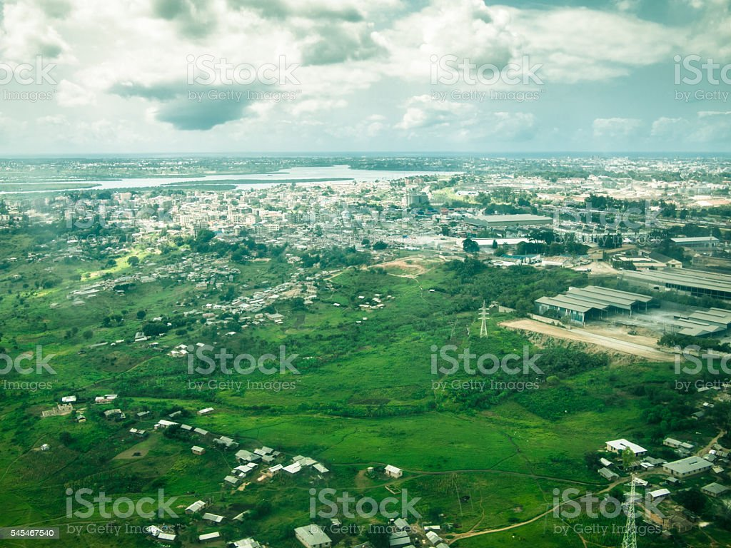Toned image from the window of airplane of the river stock photo