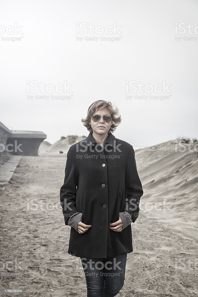 Toned Image of Hip Woman on the Beach royalty-free stock photo