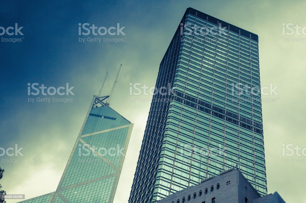 Toned image of modern office buildings in central Hong Kong. stock photo