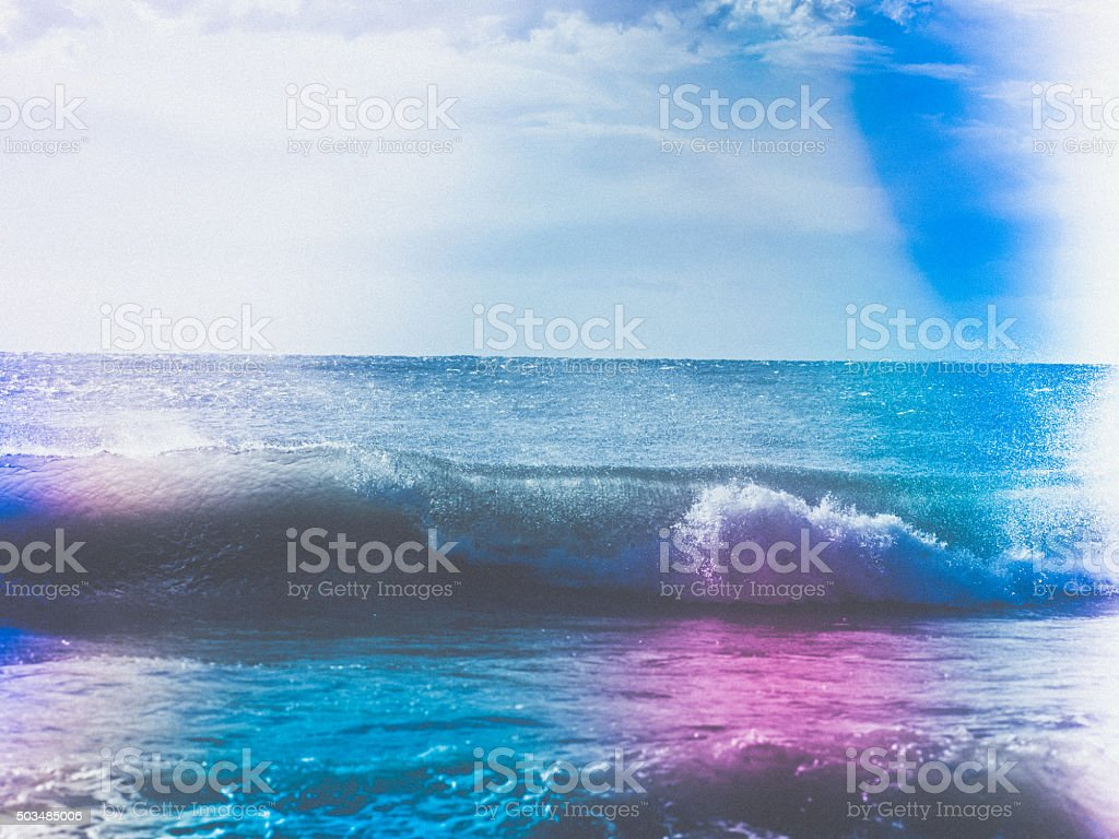 Toned image of Sea and Waves stock photo