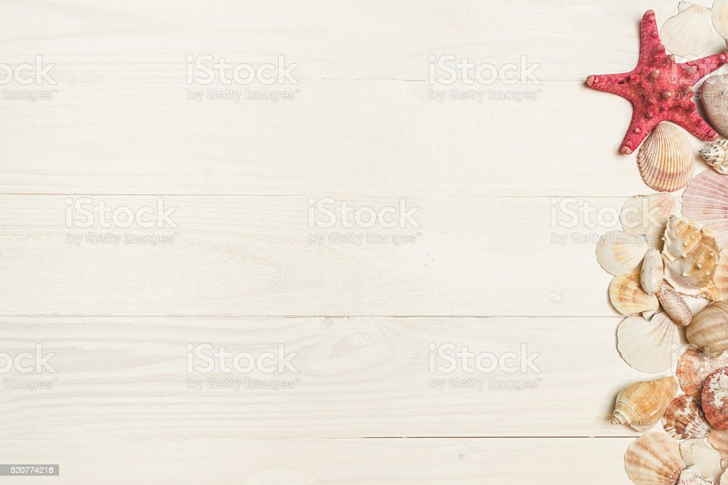 Toned image of seashells and starfish on white wooden boards stock photo