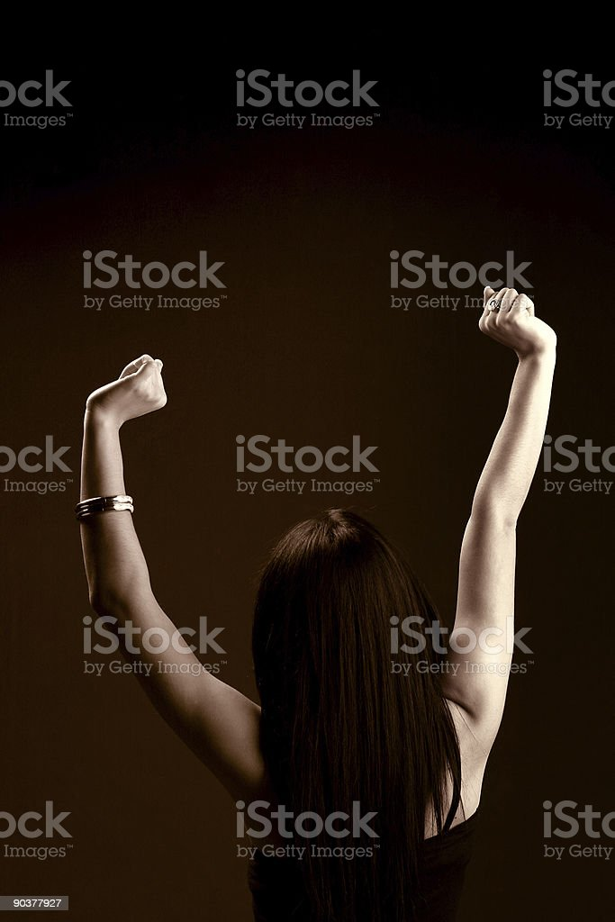 Toned photo of stretching woman stock photo