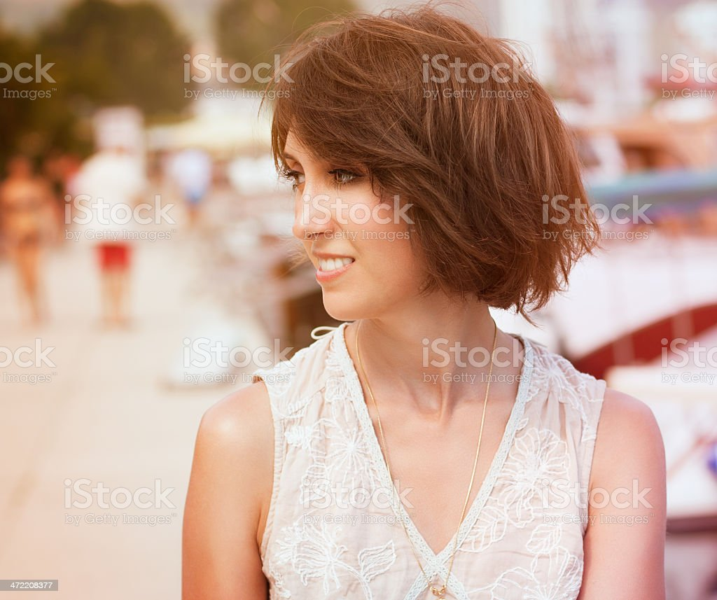 Toned Photo of Young Woman with Bob Hairstyle stock photo