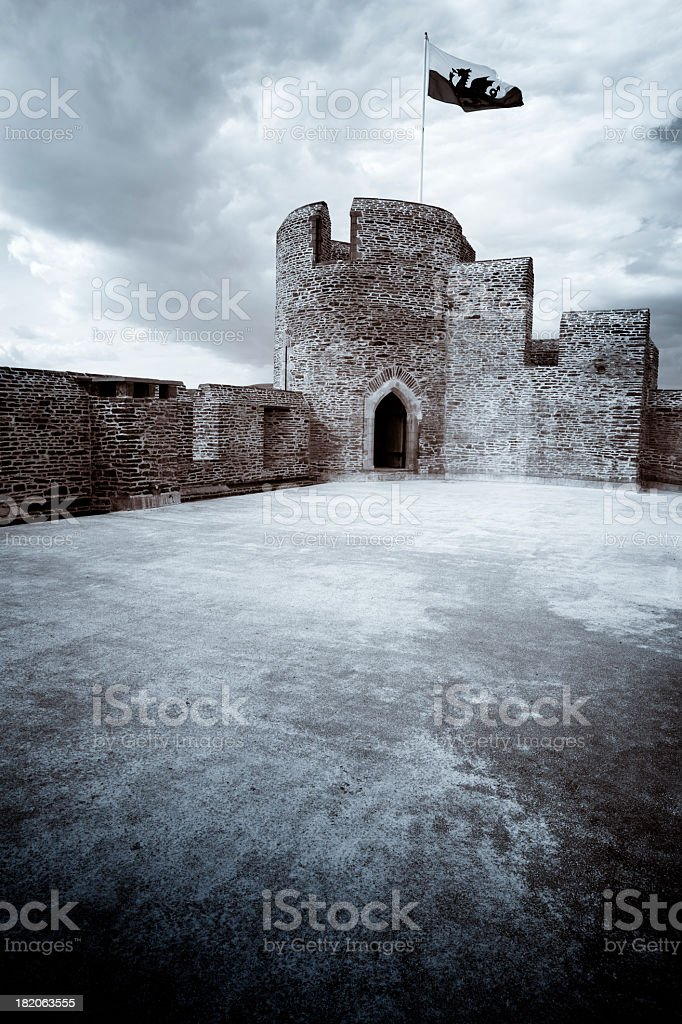 Toned Photograph of the Historic Caerphilly Castle, Wales UK royalty-free stock photo