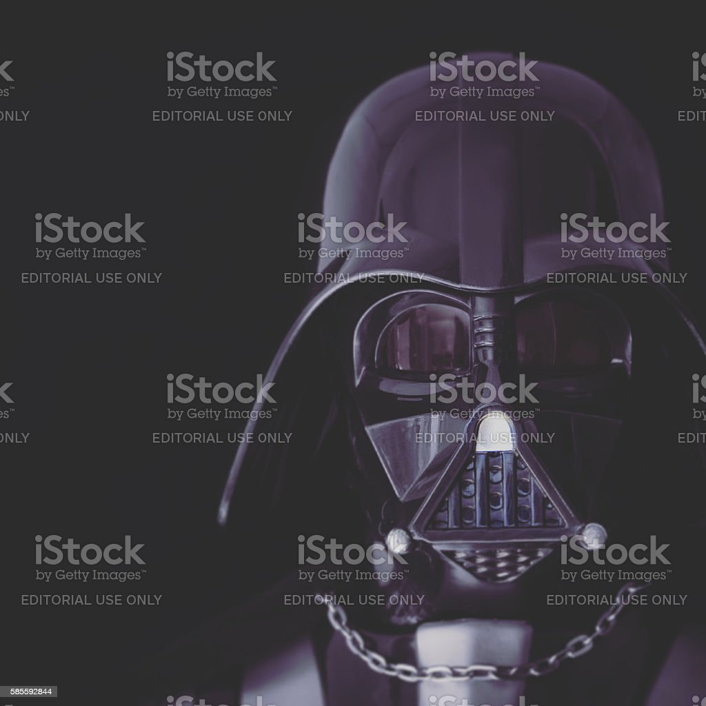 Toned Portrait of Darth Vader mask and helmet stock photo