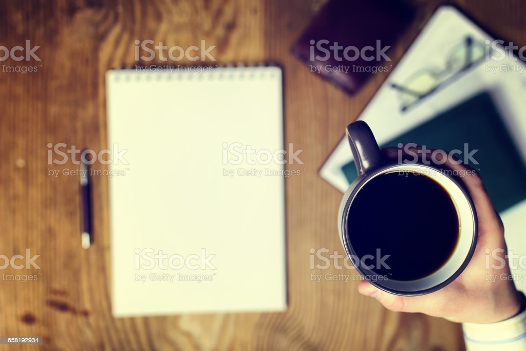 toned table write hand top view stock photo