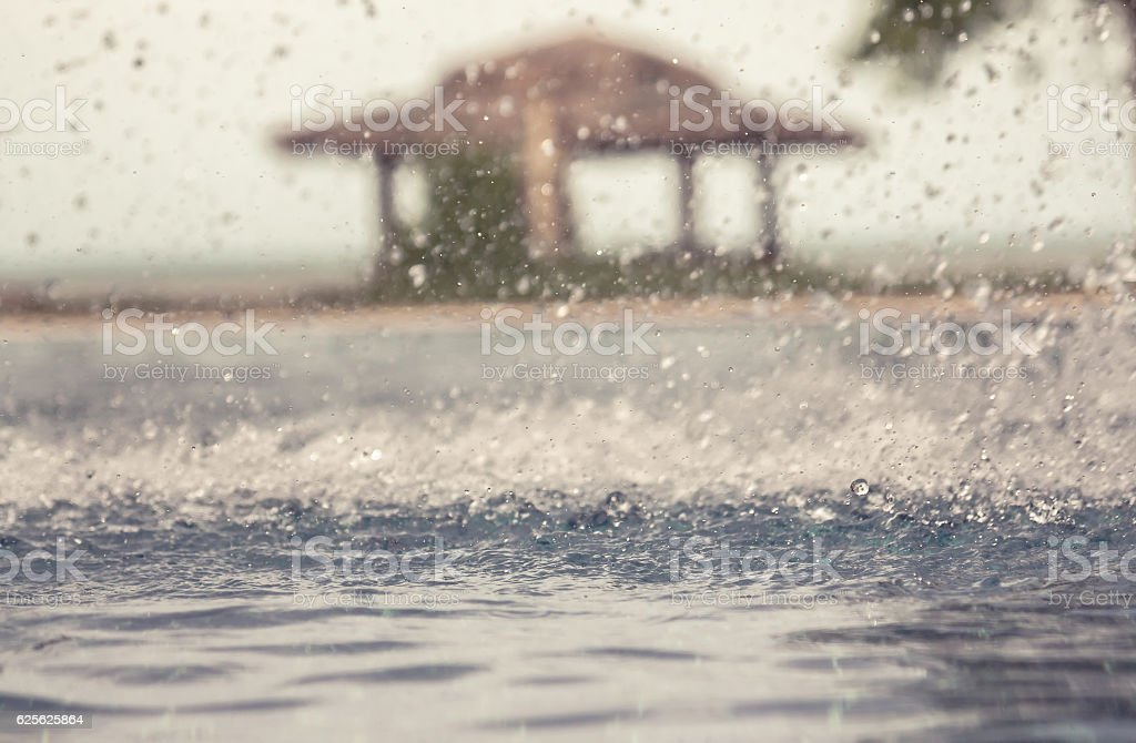 Toned vintage background with freezed water drops during rain stock photo