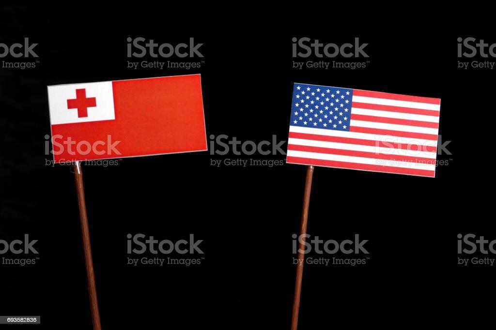 Tonga flag with USA flag isolated on black background stock photo
