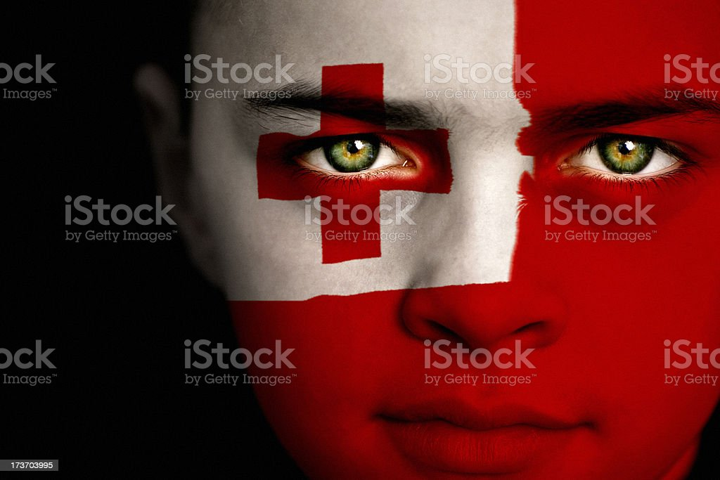Tongan flag boy stock photo