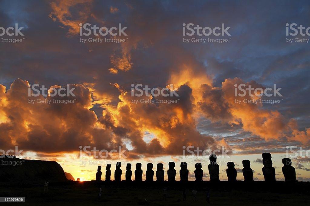 Tongariki sunrise Easter Island royalty-free stock photo