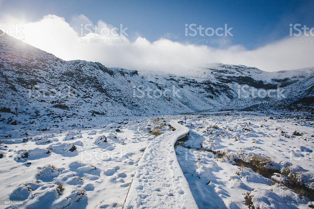 Tongariro Alpine Crossing in New Zealand stock photo