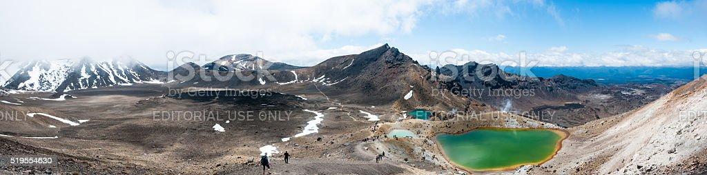 Tongariro Alpine Crossing Panoramic stock photo