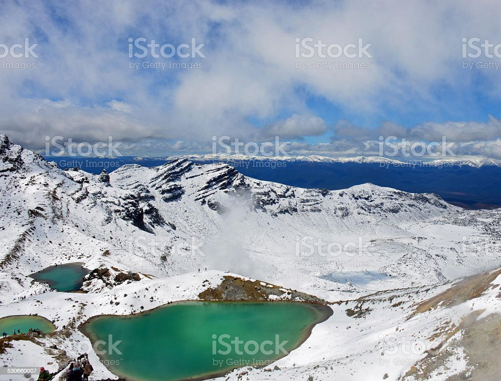 Tongariro National Park 3 Emerald Lakes stock photo