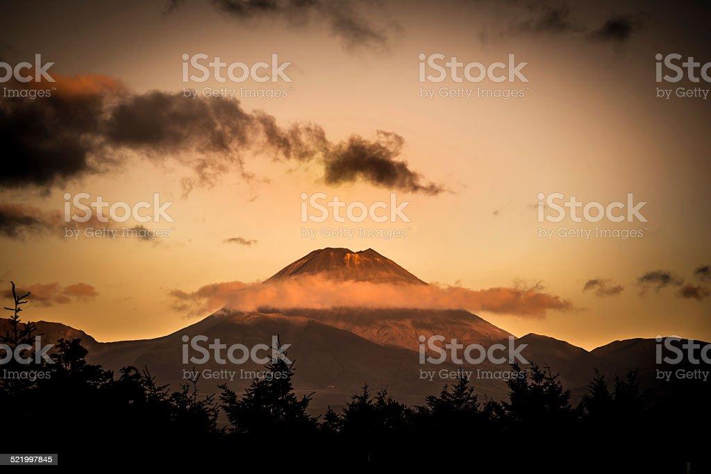 Tongariro National Park Volcano at sunset, New Zealand stock photo