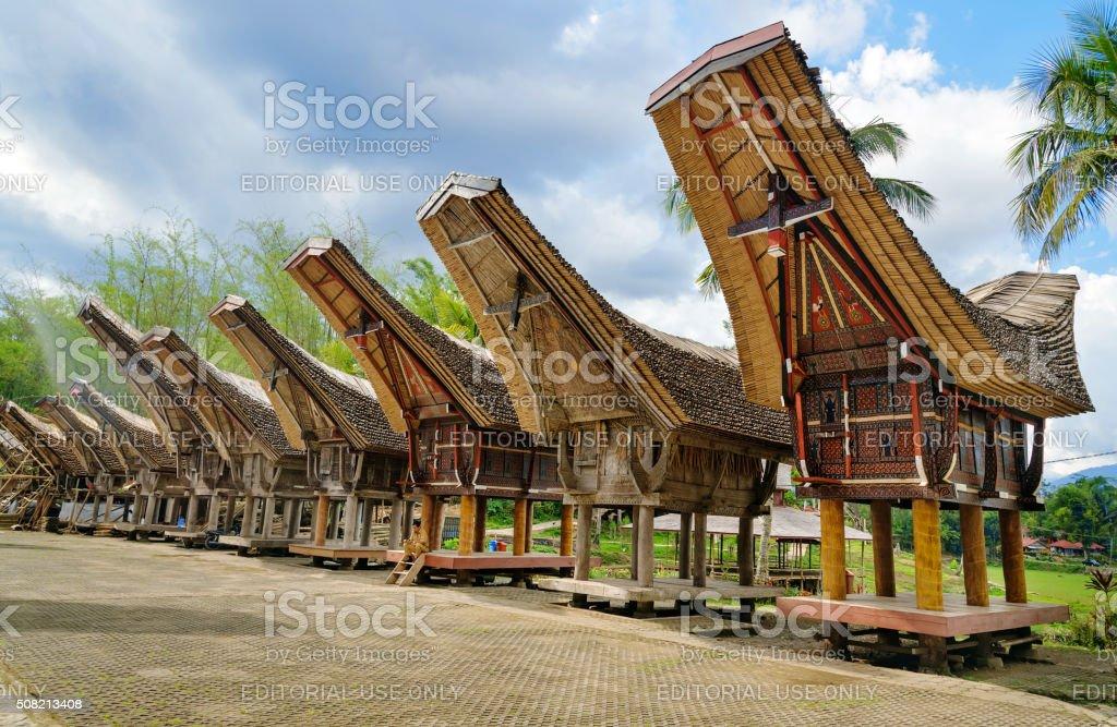 Tongkonan traditional rice barns stock photo