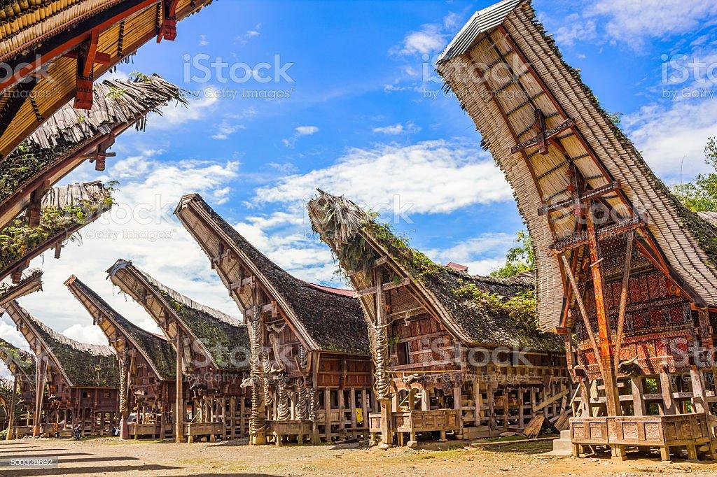 Tongkonans Torajan Ancestral Houses South Sulawesi Indonesia stock photo