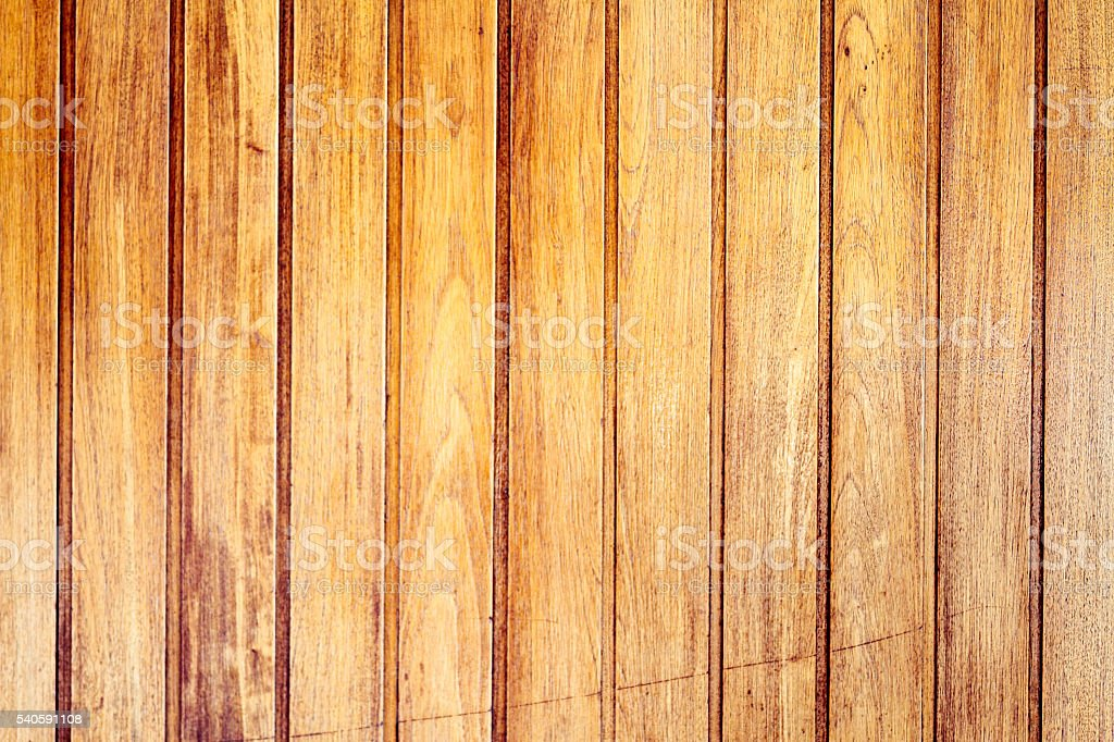 Tongue and groove tables and varnished stock photo