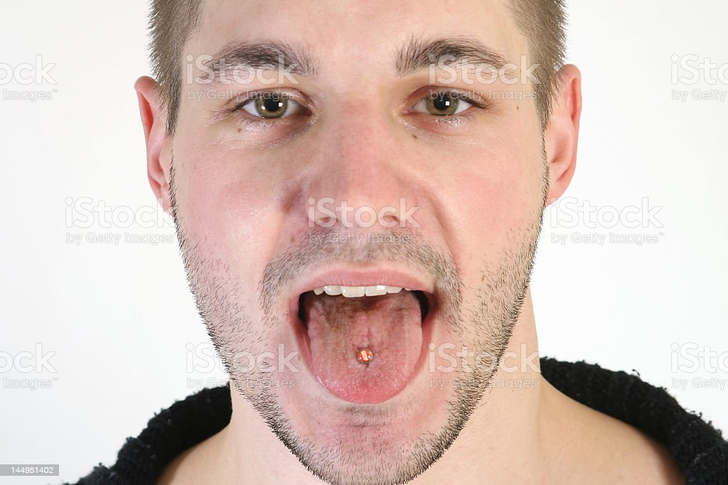 Tongue piercing royalty-free stock photo