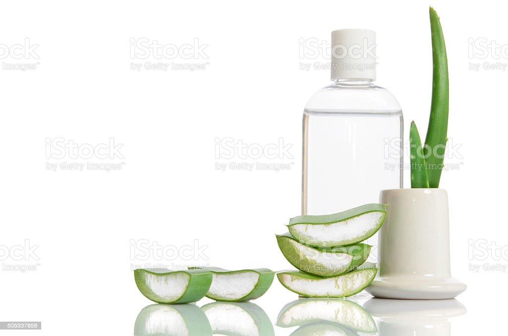 tonic from organic aloe vera isolated on white stock photo