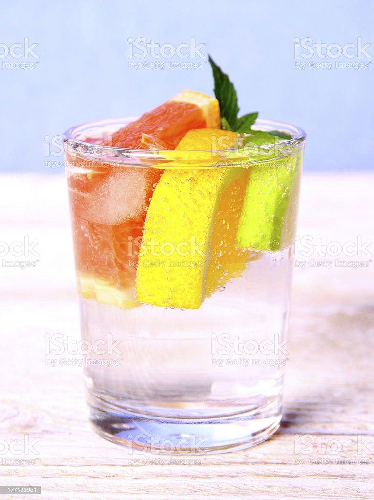 Tonic lemonade with grapefruit, lemon and lime royalty-free stock photo
