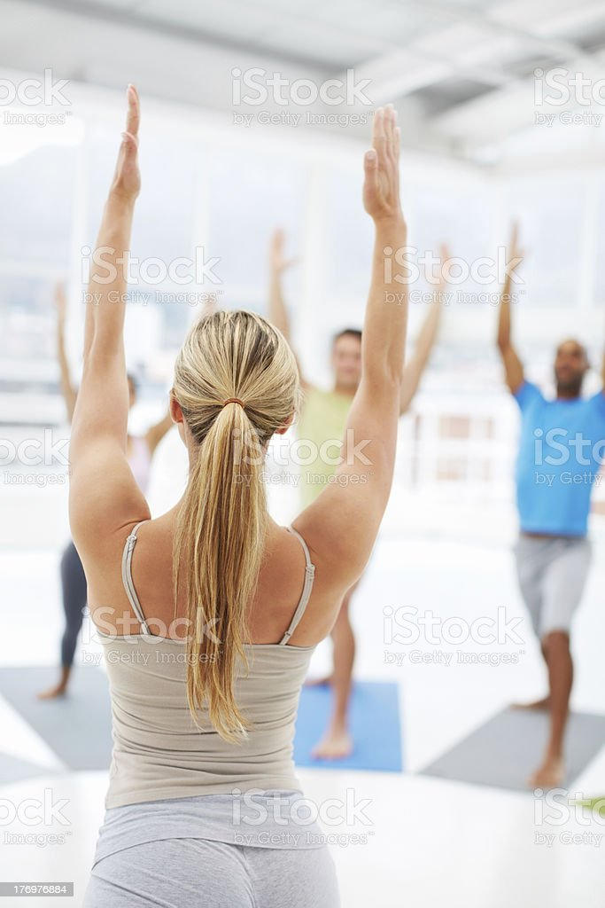 Toning and stretching their muscles royalty-free stock photo
