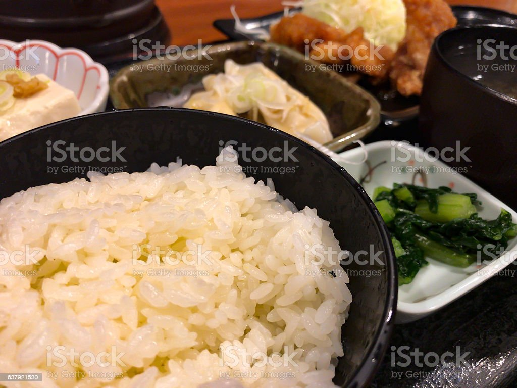 Tonkatsu, Fried Pork with rice and vegetable serve stock photo