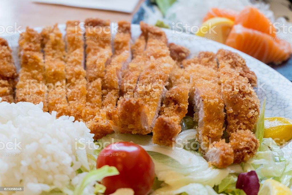 Tonkatsu, Fried Pork with rice, vegetable. stock photo