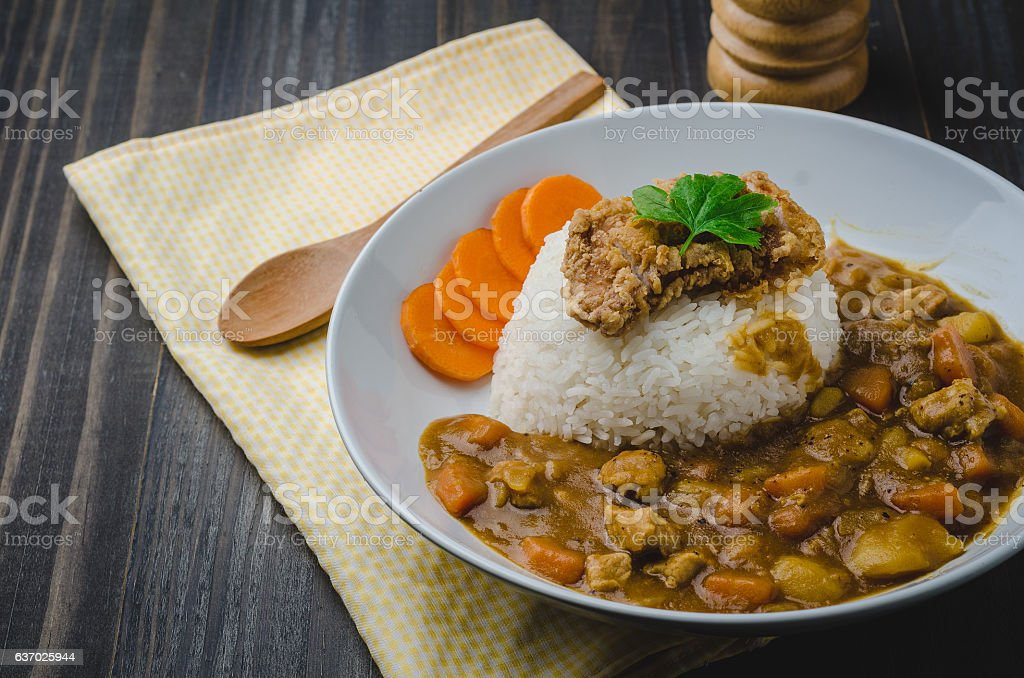 Tonkatsu, Japanese Curry Rice with deep-fried pork cutlet stock photo