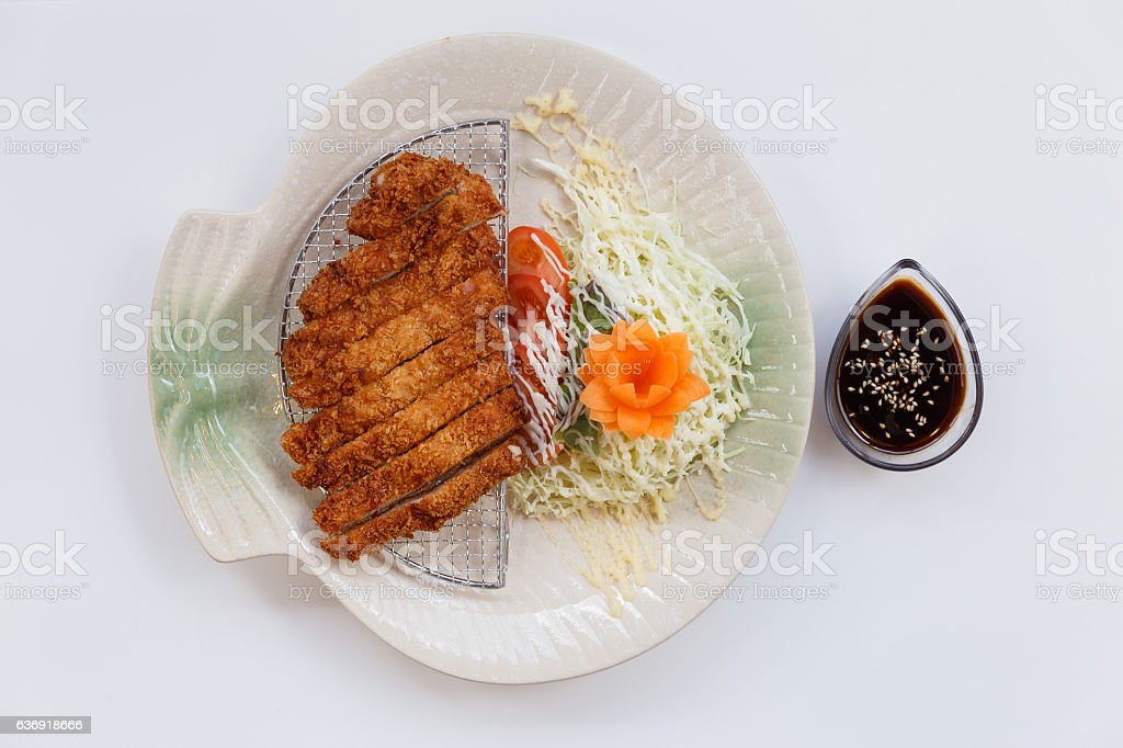 Tonkatsu Served with Vegetable and Sauce. stock photo