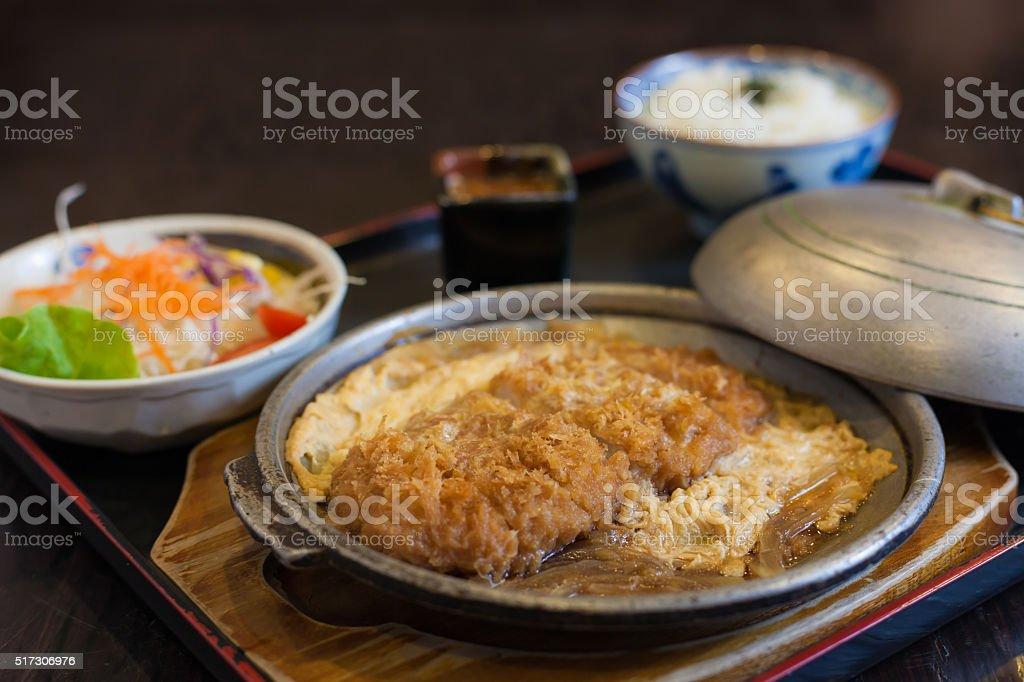 Tonkatsu with rice and egg stock photo