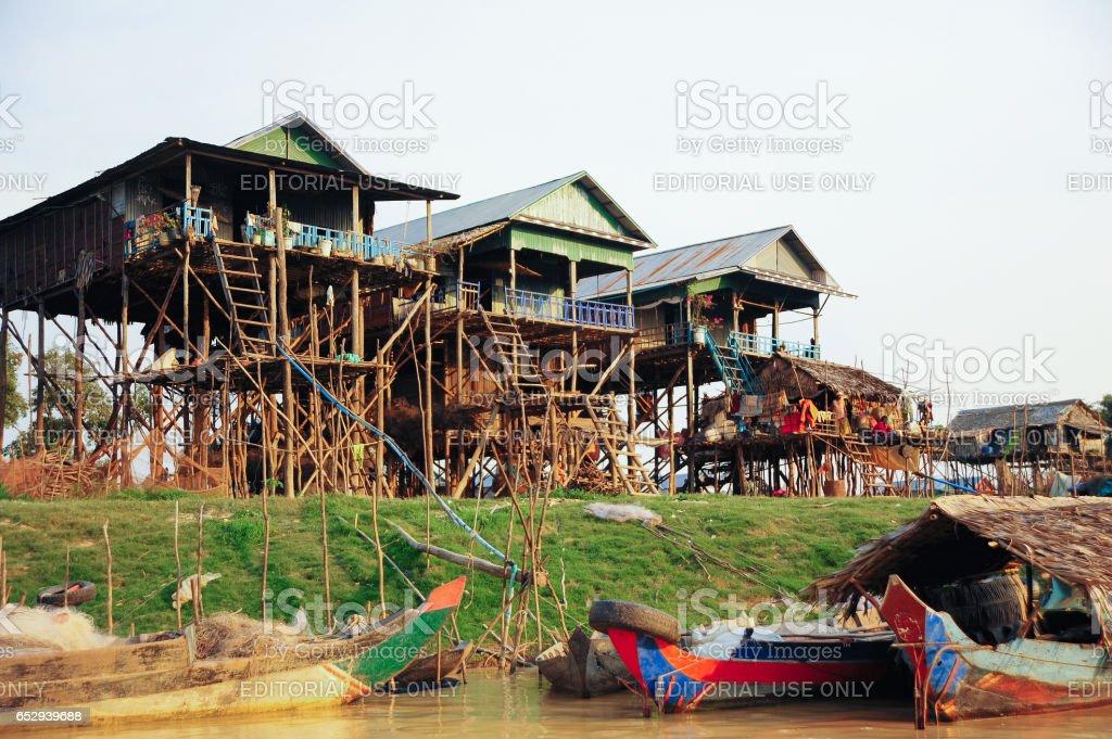 Tonle Sap Lake Floating Village at night stock photo
