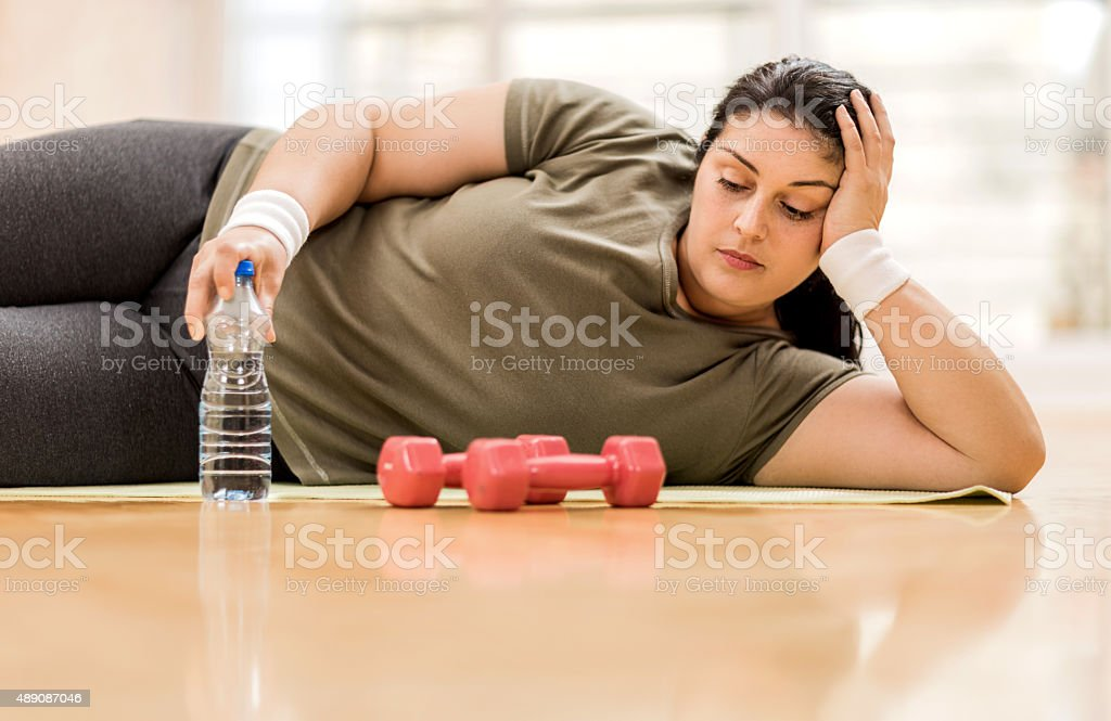 Too depressed for exercising. stock photo