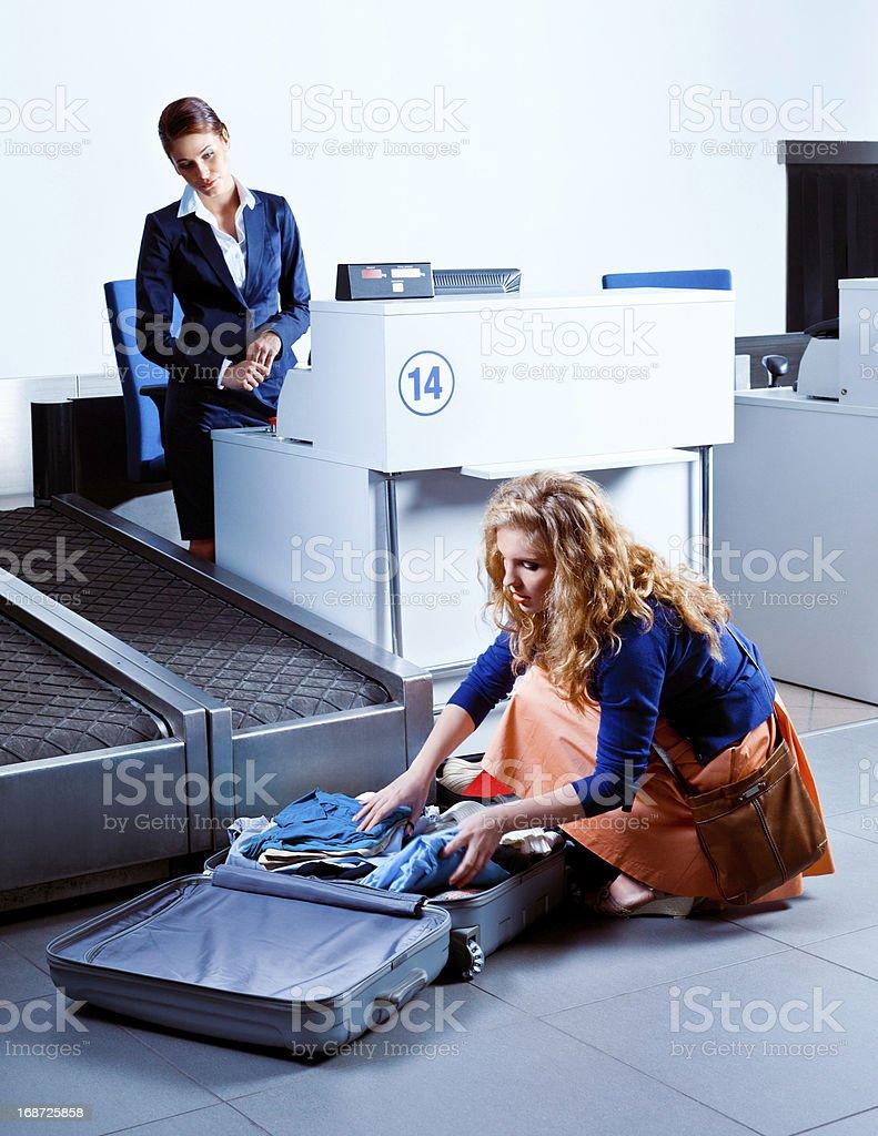 Too heavy luggage stock photo