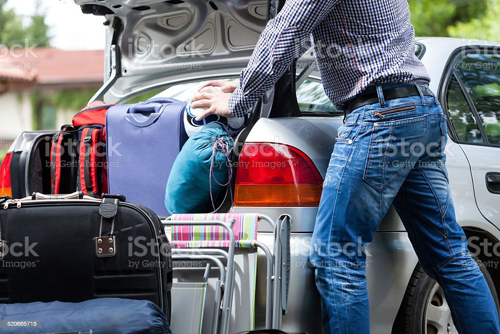Too little car trunk for luggage stock photo