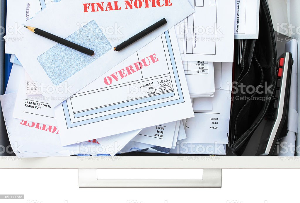 Too Many Bills Not Enough Money stock photo