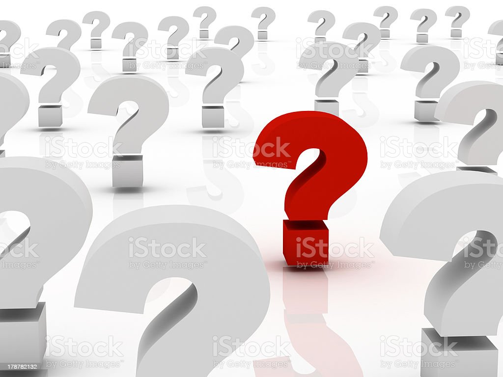 Too Many Question marks, only one red stock photo