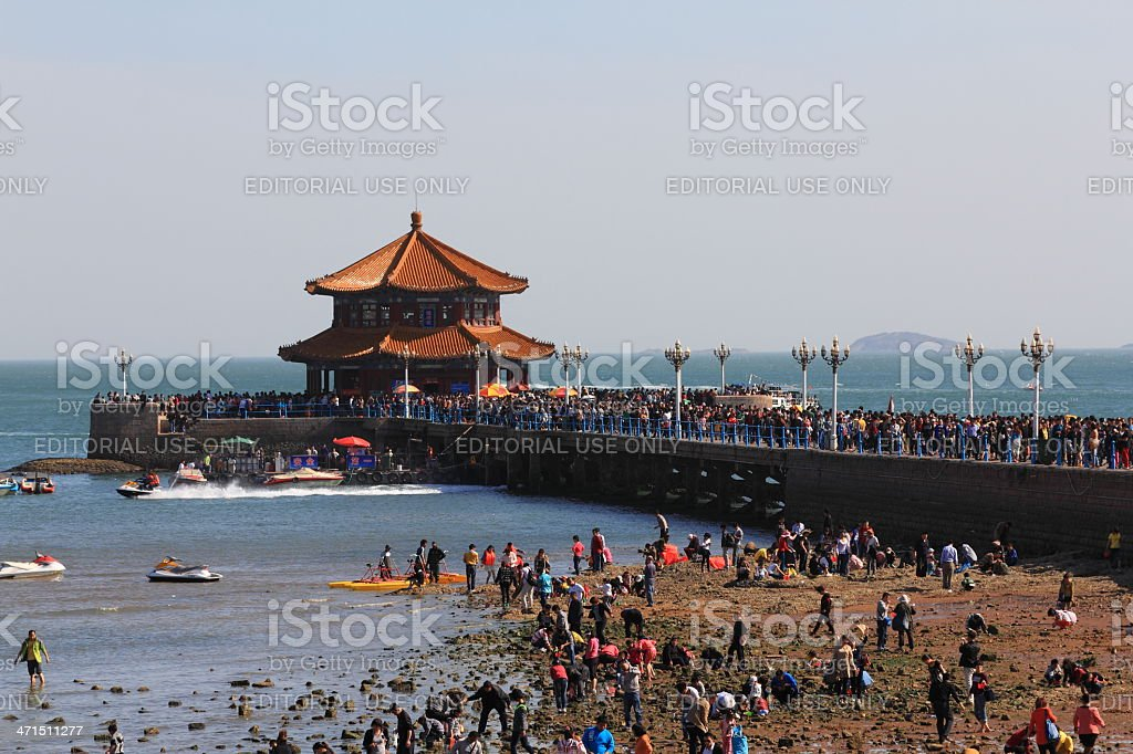 Too many tourists in Qingdao,China stock photo