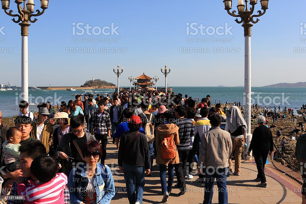 Too many tourists in Qingdao,China royalty-free stock photo