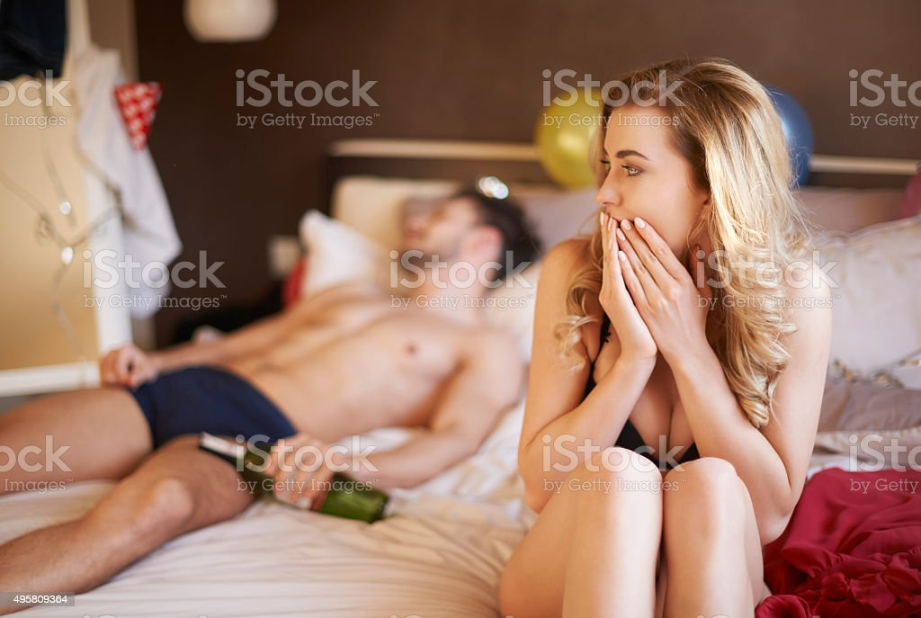 Too much wine and now I am confused stock photo