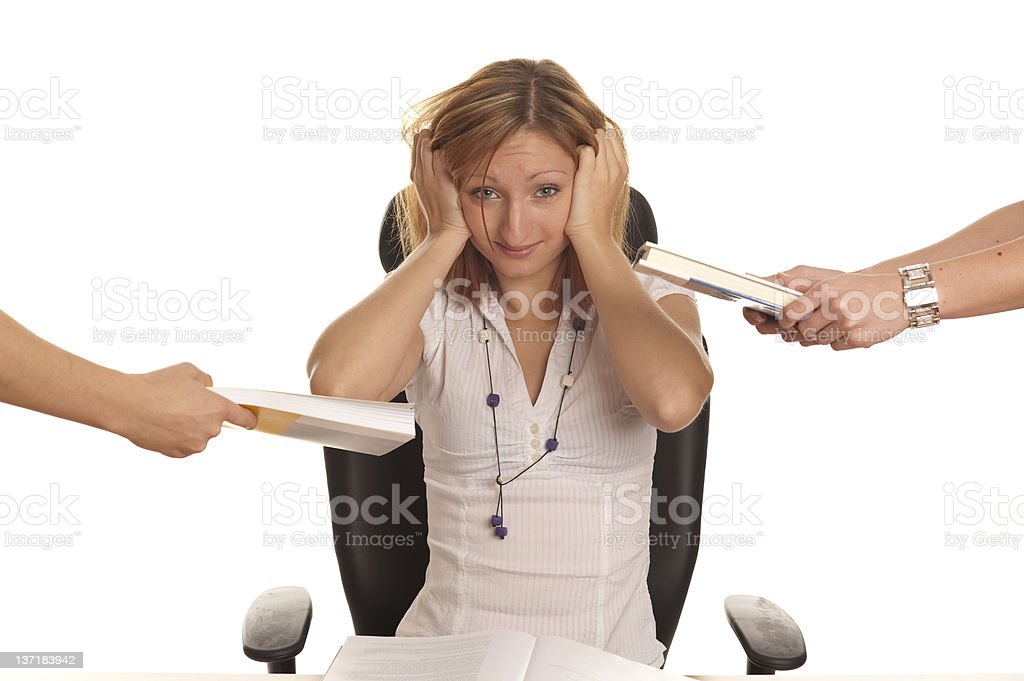 Too much work - A gir under stress stock photo