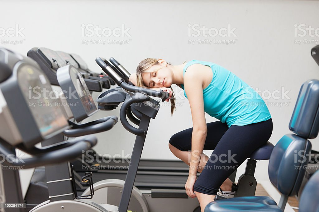 Too tired to fitness stock photo