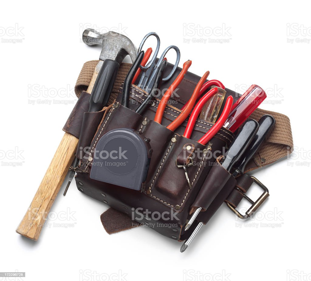Tool belt full of tools isolated on white background royalty-free stock photo