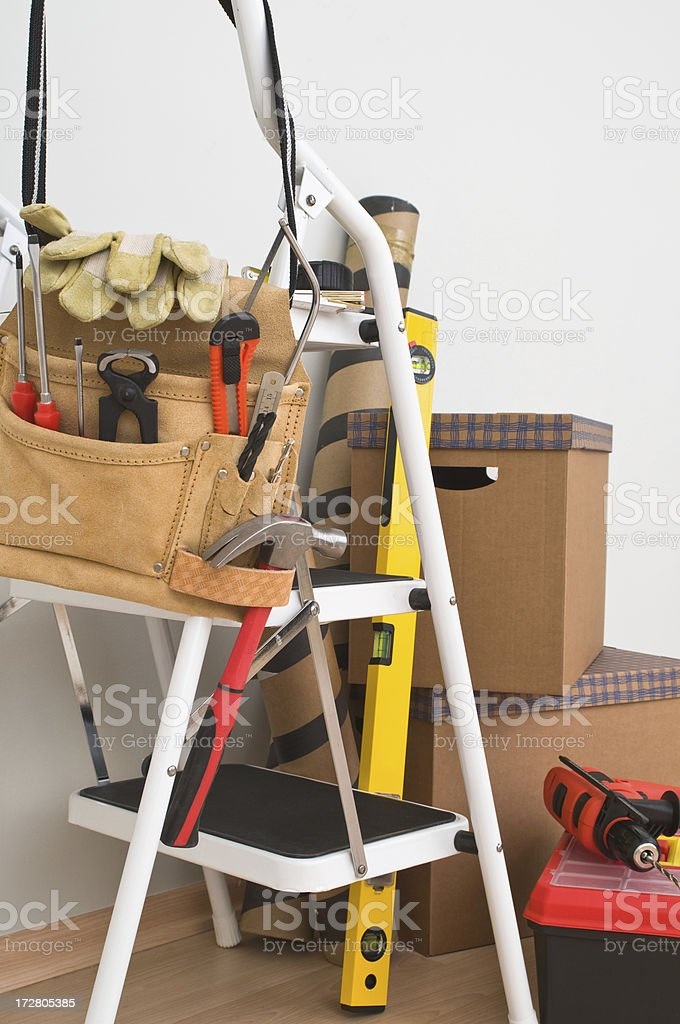 Tool Belt on ladder royalty-free stock photo