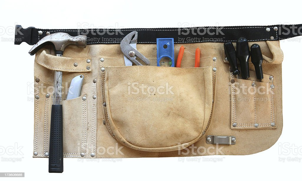 Tool belt with tools royalty-free stock photo